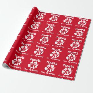 Mele Kalikimaka Hawaiian flower Tropical Christmas Wrapping Paper