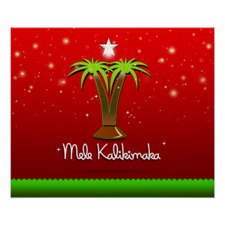 Mele Kalikimaka Palm Tree for Xmas Poster