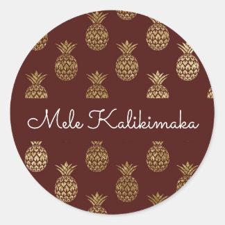 Mele Kalikimaka Pineapple Christmas Holiday Classic Round Sticker