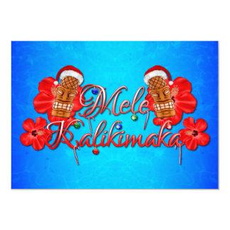 Mele Kalikimaka Tiki Hawaiian Christmas Card