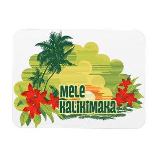 Mele Kalikimaka Tropical Island Hawaiian Christmas Rectangular Photo Magnet