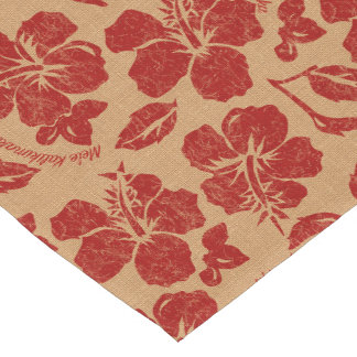 Mele Kalikimaka Vintage Pareau Hawaiian Hibiscus Short Table Runner