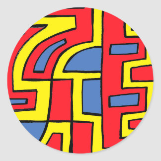 Melen Abstract Expression Yellow Red Blue Round Sticker