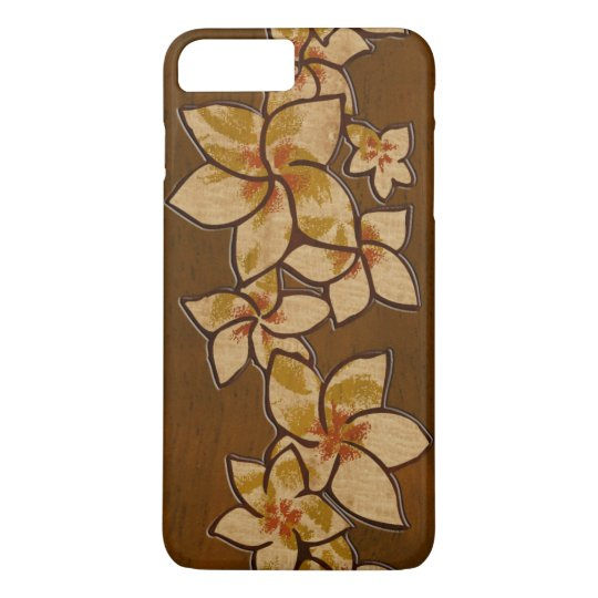 Melia Hawaiian Plumeria Faux Wood iPhone 7 Plus Case