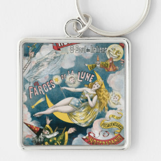 Melies ~ French Magician Vintage Magic Act Silver-Colored Square Key Ring