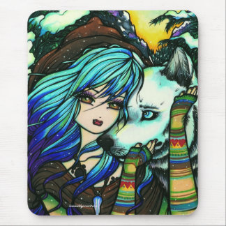 """""""Melissa"""" Vampire Wolf Fantasy Forest Art Mouse Pad"""