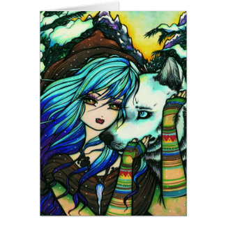 Melissa Vampire Wolf Fantasy Winter Art Greeting Card