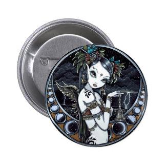"""Melita"" Goth Tribal Fusion Dancer Pinback Button"