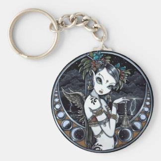 """Melita"" Gothic Tribal Fusion Dancer Art Keychain"
