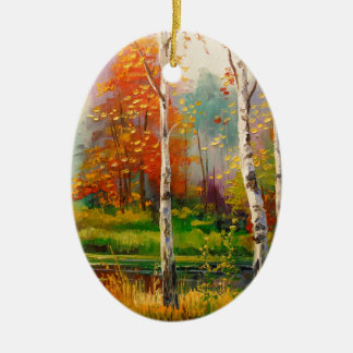 Melody of autumn ceramic oval decoration