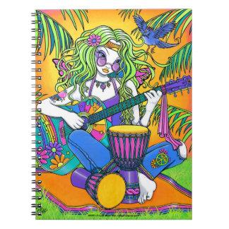 Melody Rainbow Guitar Hippie Fairy Notebook
