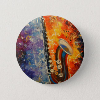 Melody saxophone 6 cm round badge