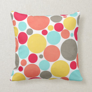 Melon, Blue, Yellow, Pink, Gray Polka Dots Pillow