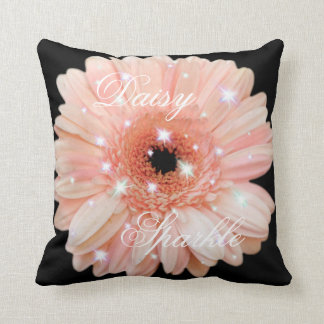 Melon Daisy Sparkle Throw Pillow