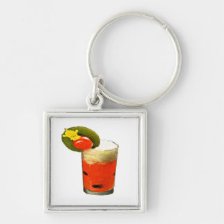 Melon Drink Silver-Colored Square Key Ring