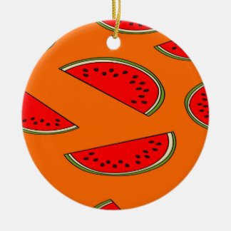 Melon fruit pattern round ceramic decoration
