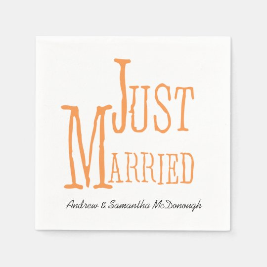 Melon Just Married Personalised Paper Napkins