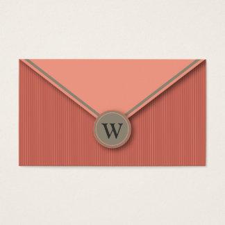 Melon Monogram Elegant Envelope Business Cards