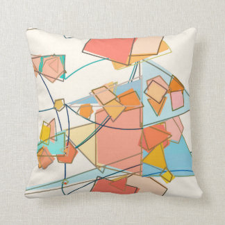 Melon, Pink and Aqua Mid-Century Modern Abstract Throw Pillow