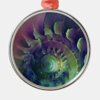 Melon Shell Abstract Silver-Colored Round Decoration