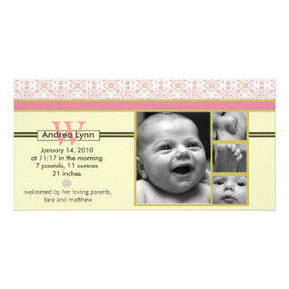 melon tangerine bandana pattern baby announcement card