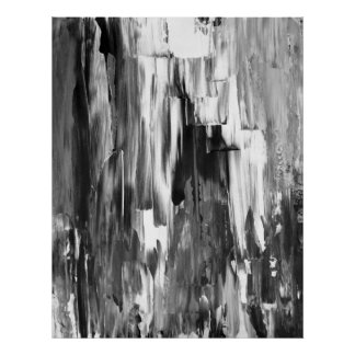 'Melted' Black and White Abstract Art Poster Print