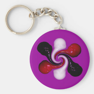 Melting and Swirling Skulls of Wax Basic Round Button Key Ring