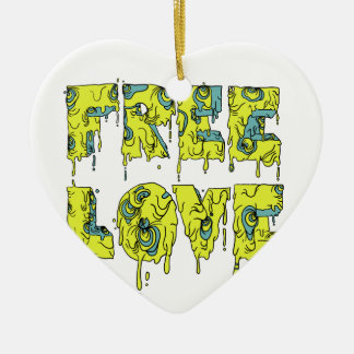 Melting free love graffiti style ceramic heart decoration