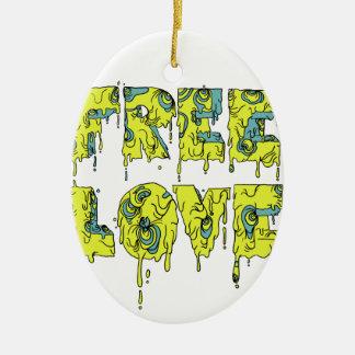 Melting free love graffiti style ceramic oval decoration