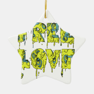 Melting free love graffiti style ceramic star decoration