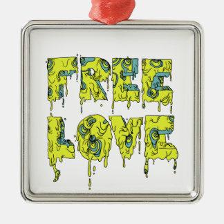 Melting free love graffiti style Silver-Colored square decoration