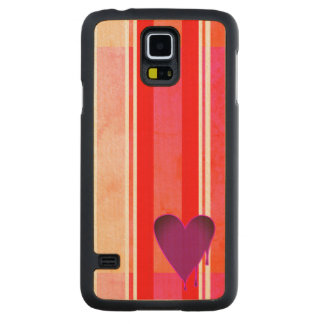 Melting Heart Purple Carved Maple Galaxy S5 Case
