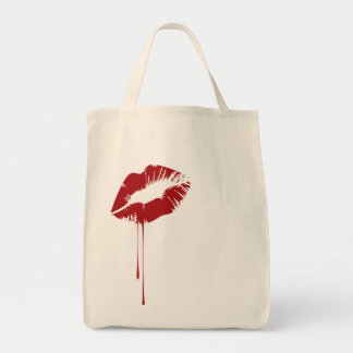 melting lip grocery tote bag