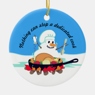 Melting snowman chef turkey Christmas ornament