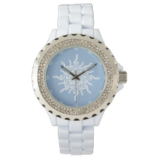MELTPOINT WINTER Blue White Treble Clef Snowflake Watch
