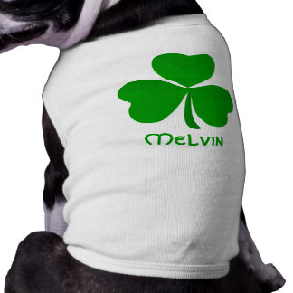 Melvin Irish Shamrock Name Sleeveless Dog Shirt