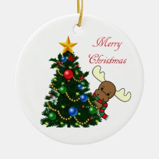 Melvin Moose Peeking Christmas Ornament