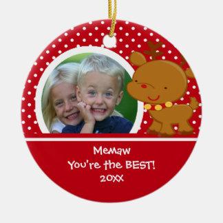 Memaw Photo Reindeer Christmas Ornament