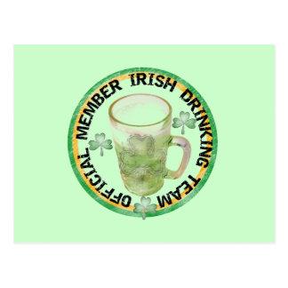 Member Irish Drinking Team Tshirts and Gifts Postcard