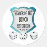 member of the bunco sisterhood round sticker
