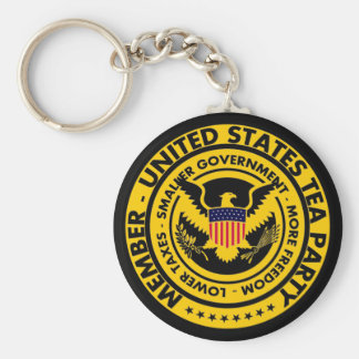 Member: United States Tea Party Basic Round Button Key Ring