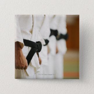 Members of a Judo Dojo Lined Up 15 Cm Square Badge