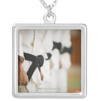 Members of a Judo Dojo Lined Up Silver Plated Necklace