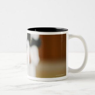Members of a Judo Dojo Lined Up Two-Tone Coffee Mug