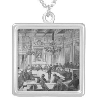 Members of the Commune in session Silver Plated Necklace