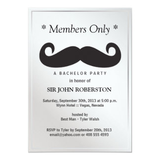 Members Only Bachelor Party 13 Cm X 18 Cm Invitation Card