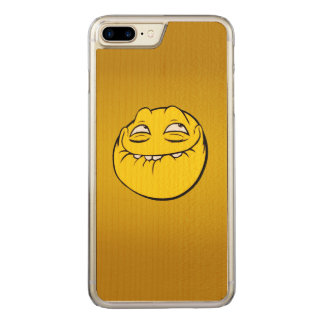 Meme Face Smiley Emoticon Yelow Funny Head Troll Carved iPhone 7 Plus Case