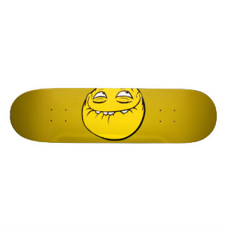 Meme Face Smiley Emoticon Yelow Funny Head Troll Custom Skate Board