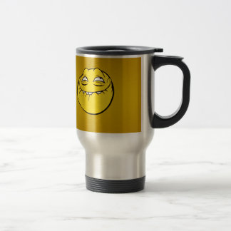 Meme Face Smiley Emoticon Yelow Funny Head Troll Stainless Steel Travel Mug