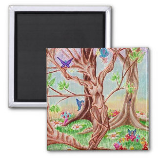 Memento Amare Tree Lady Square Magnet